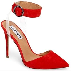 Steve Madden Diva Red Suede Clear Lucite High Heel